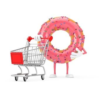 흰색 바탕에 쇼핑 카트 트롤리가 있는 큰 딸기 핑크 글레이즈드 도넛 캐릭터 마스코트. 3d 렌더링