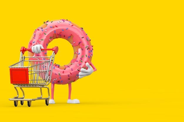 노란색 배경에 쇼핑 카트 트롤리가 있는 큰 딸기 핑크 글레이즈드 도넛 캐릭터 마스코트. 3d 렌더링