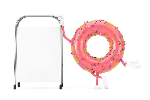 白い背景の上に白い空白の広告プロモーションスタンドと大きなストロベリーピンクの艶をかけられたドーナツのキャラクターのマスコット。 3dレンダリング Premium写真