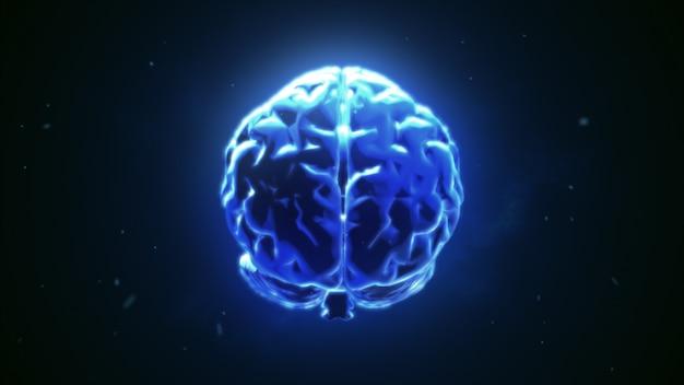 Большой сильный мозг пульсирует в синем