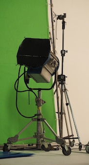 Big studio light equipments for movie video or photo film professional shooting and screen background.
