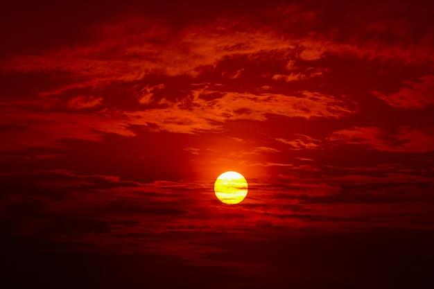 Big sun, sunset sky