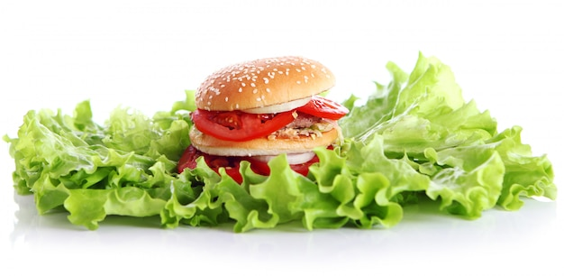 Big and tasty burger with lettuce leaves