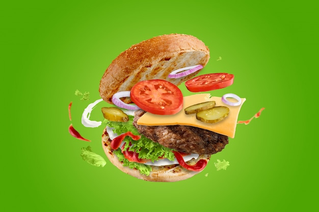 Big tasty hamburger with flying elements