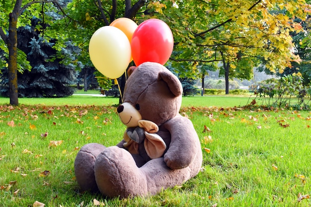Big teddy bear with balloons on the grass. beautiful autumn has come.