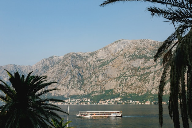 Большой туристический корабль плывет по морю на фоне поверхности города в горах.