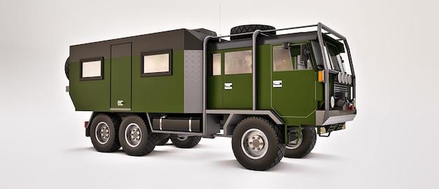 외딴 지역 3d 그림에서 길고 어려운 탐험을 위해 준비된 큰 트럭