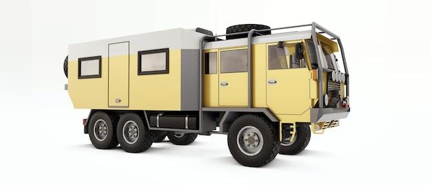 오지에서 길고 어려운 원정을 위해 준비된 대형 트럭. 바퀴에 집 트럭. 3d 그림. 프리미엄 사진