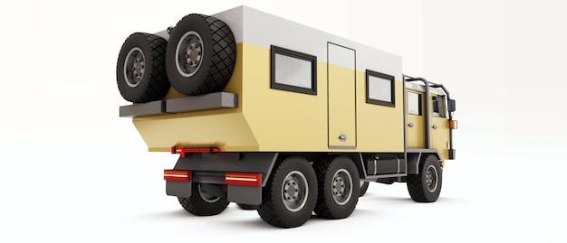 오지의 길고 힘든 원정을 위해 준비된 대형 트럭. 바퀴에 집이 있는 트럭. 3d 그림입니다.