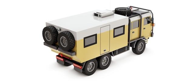 먼 지역의 길고 어려운 원정을 위해 준비된 대형 트럭. 바퀴에 집이 있는 트럭. 3d 그림입니다.