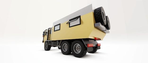 Большой грузовик подготовлен к долгим и трудным экспедициям в труднодоступные места. грузовик с домиком на колесах. 3d иллюстрации.