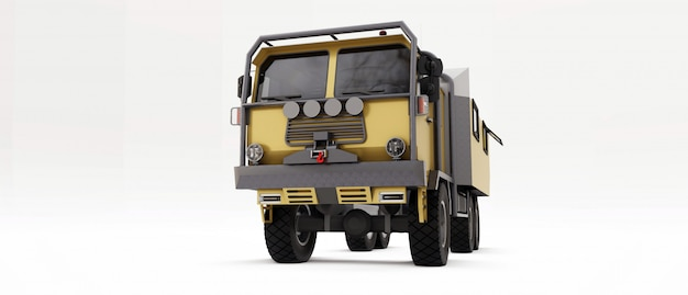 Big truck prepared for long and difficult expeditions in remote areas. truck with a house on wheels