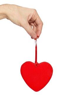 手に大きなバレンタインの心。