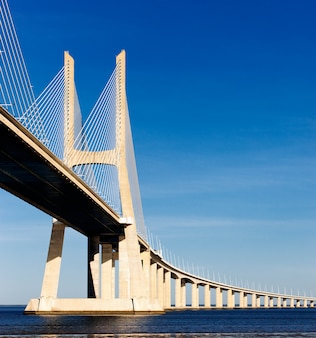 The big vasco da gama bridge in lisbon, portugal