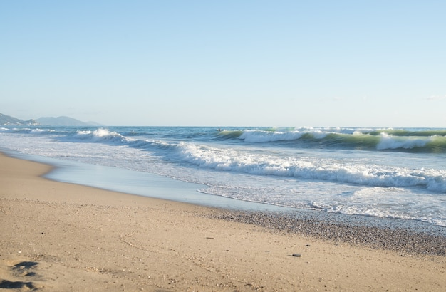 Big waves in the mediterranean sea on a clear sunny day.
