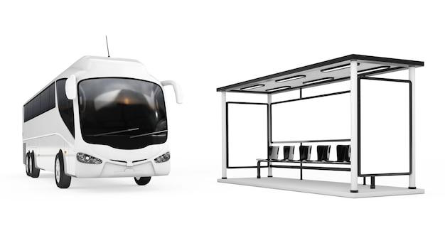 白い背景の上のバス停の近くの大きな白いコーチツアーバス。 3dレンダリング