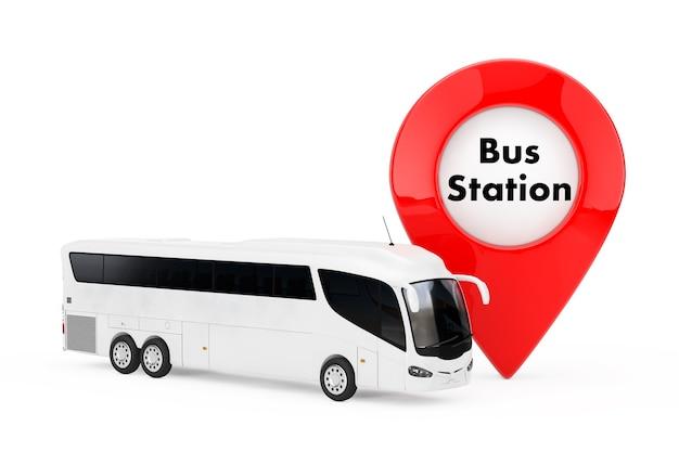 白い背景にバス停のサインが付いているターゲットピンポインターの近くの大きな白いコーチツアーバス。 3dレンダリング