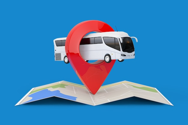 青い背景にターゲットピンポインターと折りたたまれた抽象的なナビゲーションマップ上の大きな白いコーチツアーバス。 3dレンダリング