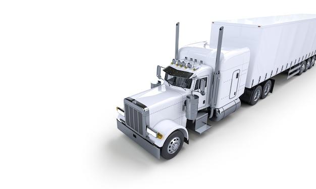 Большой белый транспортный грузовик. 3d рендеринг