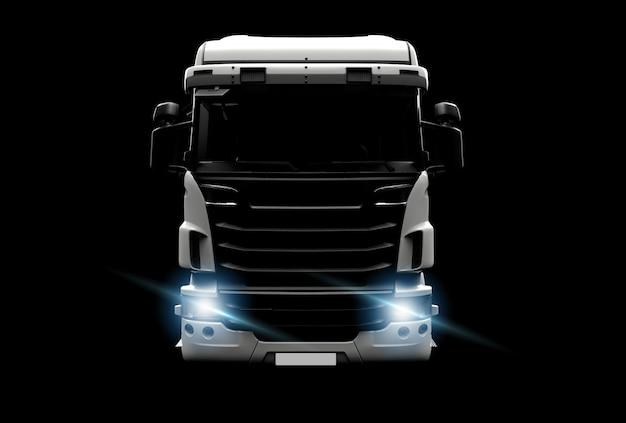 暗闇の中で大きな白いトラック