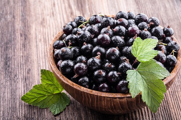 Big wooden bowl with fresh black currant and original leaves