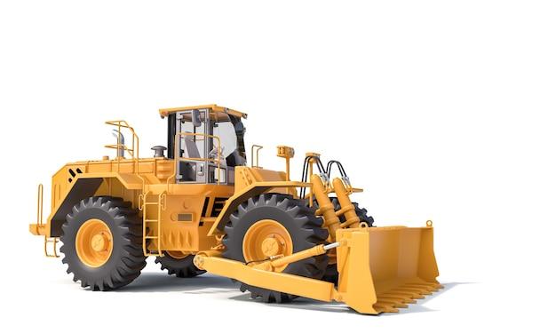 Big yellow bulldozer on a white