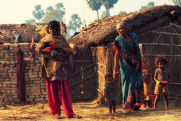 Bihar india - february 18,  2016 : unidentified people standing beside the road