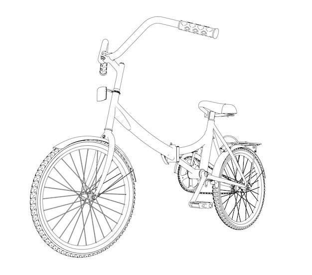 白い背景の上の自転車の輪郭。 3dイラスト。