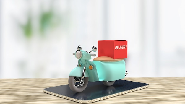 The bike delivery on tablet for applications concept 3d rendering