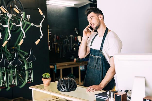 Bike shop with shop assistant