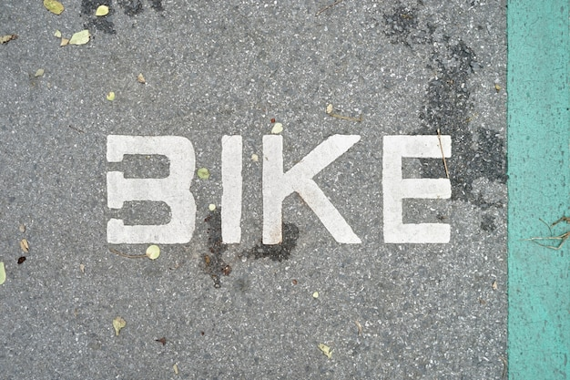Bike way symbol indicated on bicycle lane