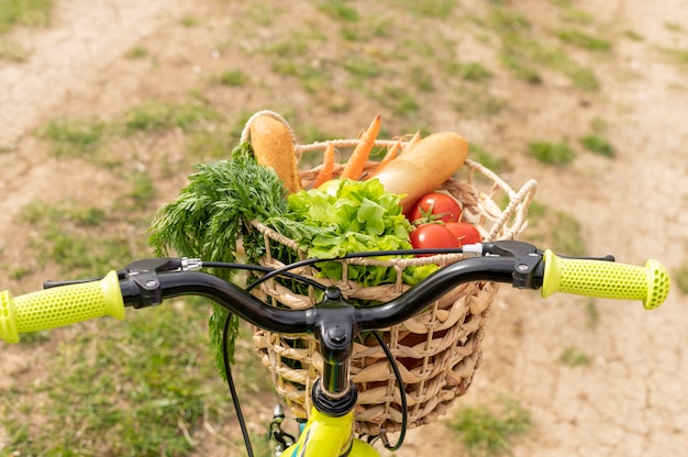 Bike with groceries in basket