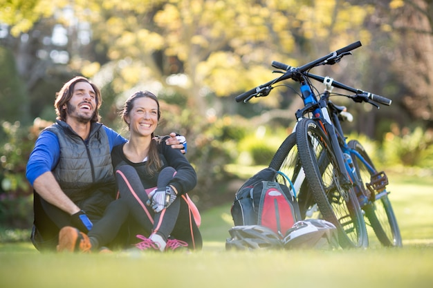 Biker couple relaxing together