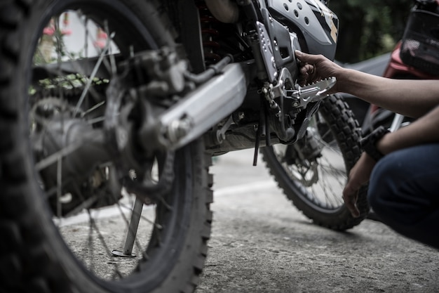 Biker fix engine motocross motocycle