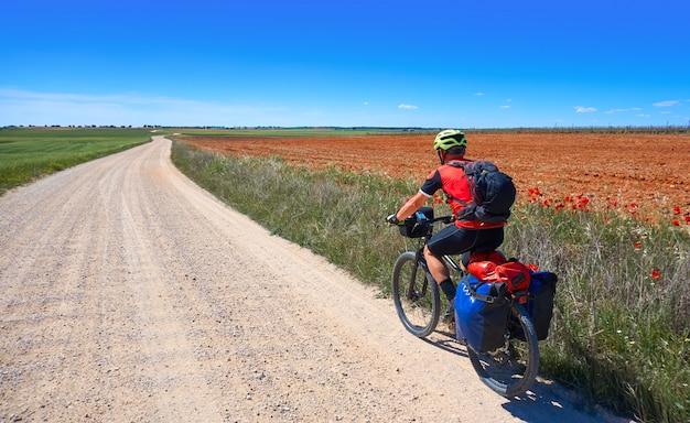 Biker pilgrim by camino de santiago