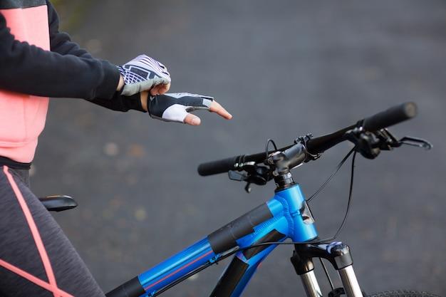Biker wearing sport gloves