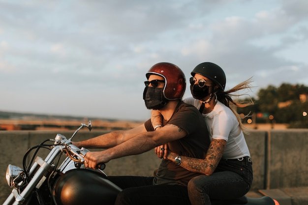 Bikers wearing masks in the new normal lifestyle