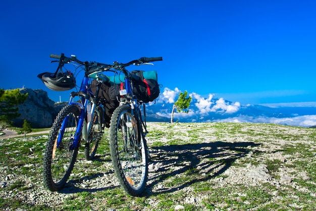 Bikes on mountain