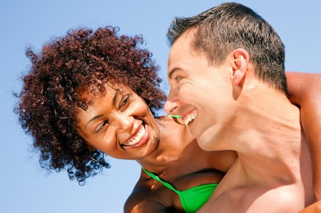 Bikini girl with boyfriend