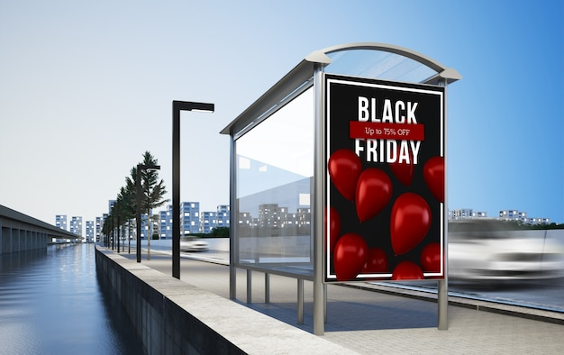 Billboard advertising black friday on bus stop 3d rendering mockup