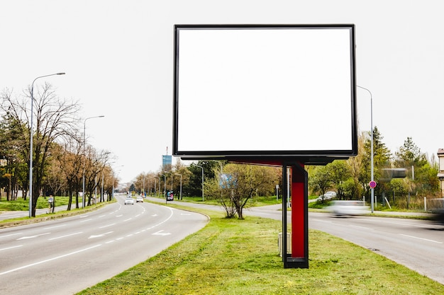 Billboard blank for outdoor advertising in the middle of the road