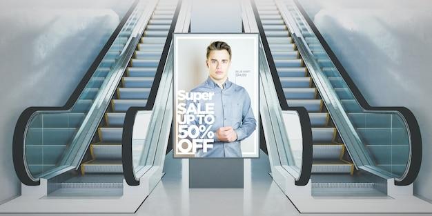 地下鉄駅の3dレンダリングでのビルボードファッション広告