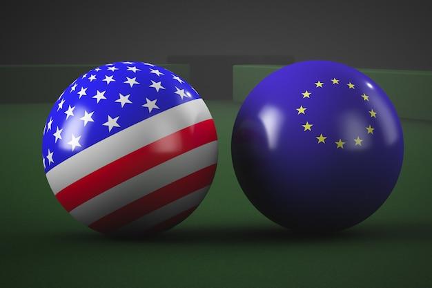미국과 유럽 국기의 스타일에 당구 공. 지정 학적 주제. 프리미엄 사진