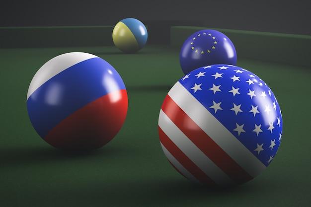 미국, 러시아, 유럽 연합 및 우크라이나 국기가있는 당구 공 프리미엄 사진