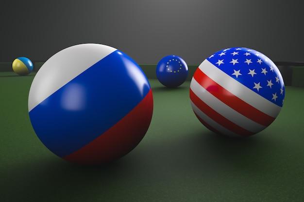 Бильярдные шары с флагами сша, россии, европы и украины