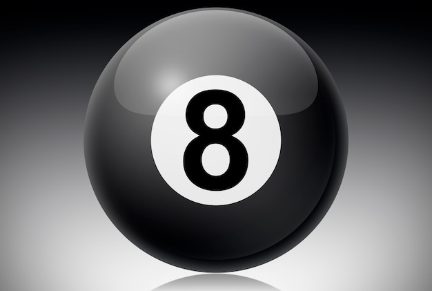 Billiards black ball number eight.