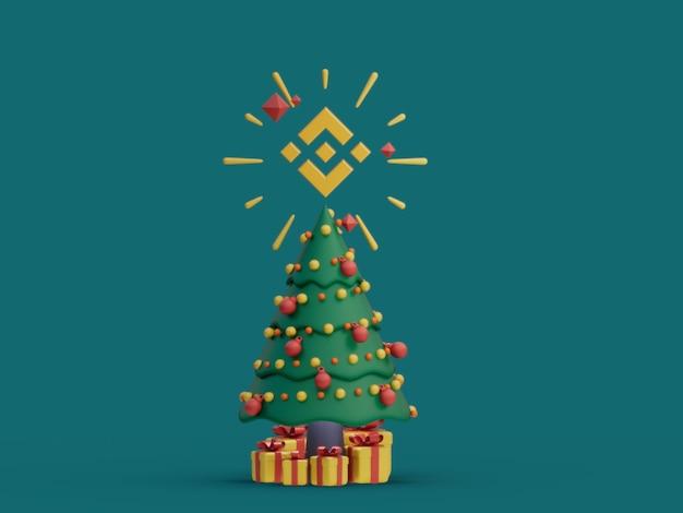 바이낸스 크리스마스 트리 장식 축제 암호화 통화 3d 그림 렌더링