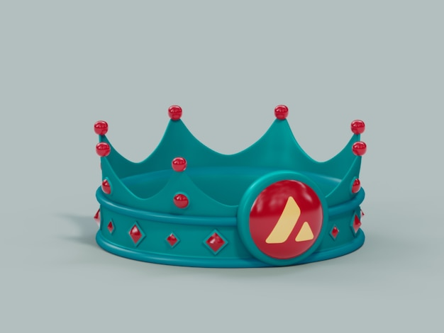 Binance crown king 우승자 챔피언 crypto currency 3d 일러스트레이션 렌더링