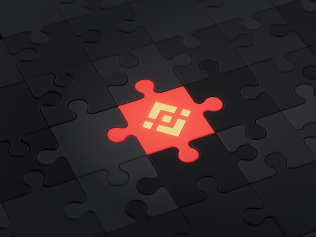 Binance different unique jigsaw puzzle piece crypto currency 3d illustration concept render