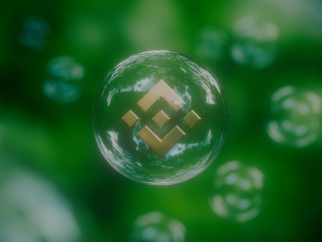 Binance 경제 거품 불안정한 암호화 통화 자연 3d 그림 렌더링